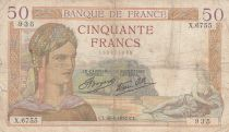 France 50 Francs Cérès - 26-08-1937 - Série X.6755