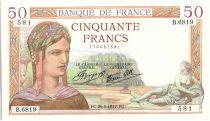 France 50 Francs Ceres - 26-08-1937 Serial B.6819