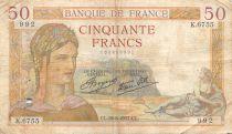 France 50 Francs Cérès - 26-08-1937 Série K.6755 - PTB