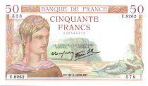 France 50 Francs Cérès - 27-05-1938 Série U.8262