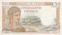 France 50 Francs Cérès - 28-01-1937 - Série T.5515 - TTB