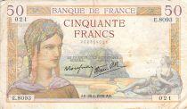 France 50 Francs Ceres - 28-04-1938 - Serial E.8093 - F