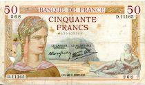 France 50 Francs Cérès - 28-09-1939 Série D.11165-268 - PTTB