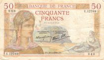 France 50 Francs Cérès - 29-02-1940 Série V.12769 - TTB