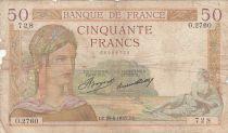 France 50 Francs Ceres - 29-08-1935 - Serial O.2760