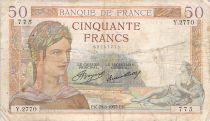 France 50 Francs Ceres - 29-08-1935 - Serial Y.2770 - F