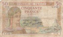 France 50 Francs Cérès - 29-08-1935 - Série U.2742