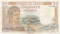 France 50 Francs Ceres - 30-06-1937 - Serial K.6432
