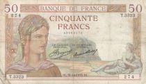 France 50 Francs Cérès - 31-10-1935 - Série T.3323