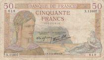 France 50 Francs Cérès -07-12-1939- Série X.11607