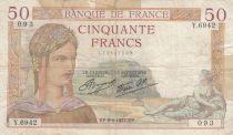 France 50 Francs Cérès -09-09-1937 - Série Y.6942