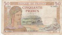 France 50 Francs Cérès -14-09-1939- Série R.10827