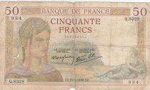 France 50 Francs Cérès -27-05-1937- Série Q.8328