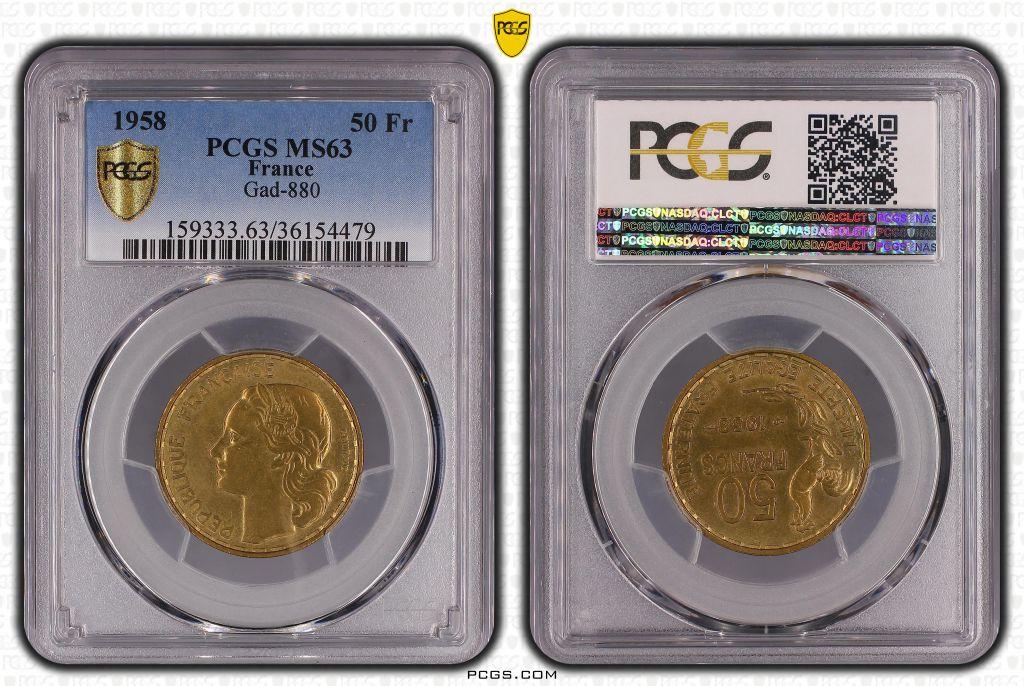 France 50 Francs Guiraud - 1958 - PCGS MS 63
