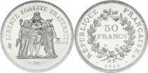 France 50 Francs Hercule - Piefort 1980 Argent - FDC avec certificat