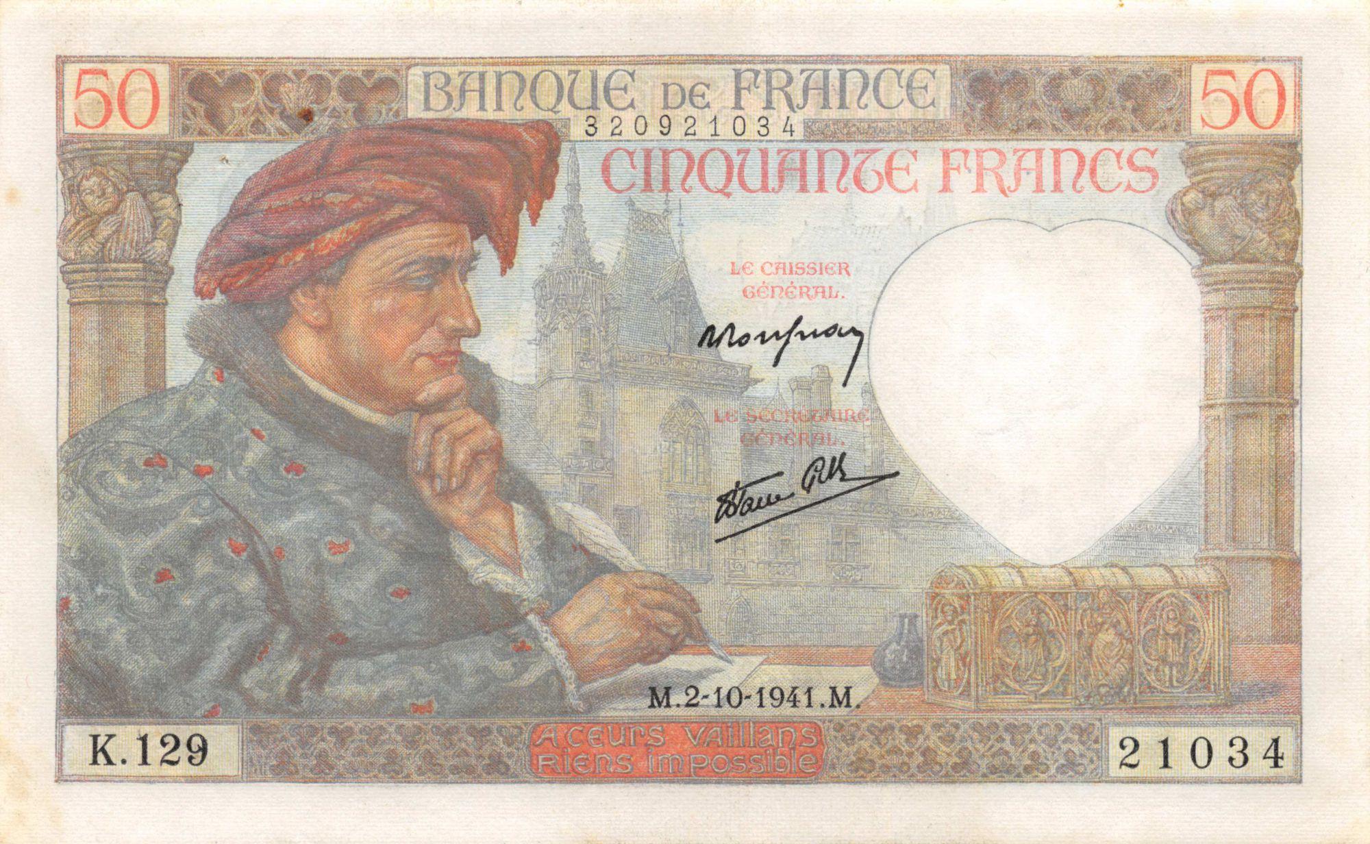 France 50 Francs Jacques Coeur - 02-10-1941 Série K.129 - TTB