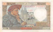 France 50 Francs Jacques Coeur - 02-10-1941 Série K.129 - TTB
