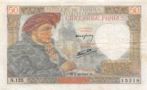 France 50 Francs Jacques Coeur - 02-10-1941 Série N.125 - PTTB