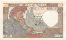 France 50 Francs Jacques Coeur - 05-02-1942 Serial G.166 - VF