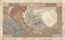 France 50 Francs Jacques Coeur - 05-09-1940 Serial H.14 - F