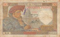 France 50 Francs Jacques Coeur - 05-09-1940 Serial Q.14 - F