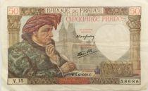 France 50 Francs Jacques Coeur - 05-09-1940 Serial V.15 - VF