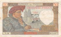 France 50 Francs Jacques Coeur - 05-09-1940 Serial Y.14 - VF