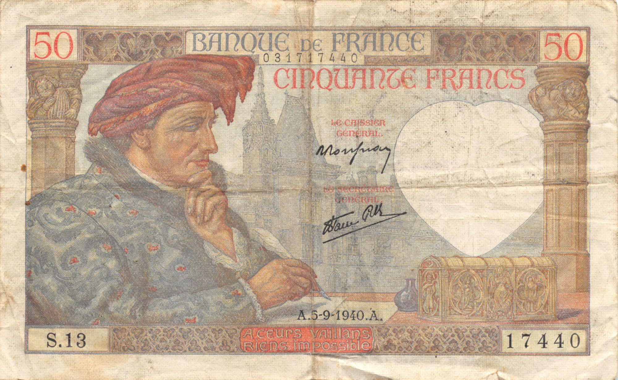 France 50 Francs Jacques Coeur - 05-09-1940 Série S.13 - TB+