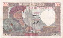 France 50 Francs Jacques Coeur - 05-09-1940 Série Y.14 - TTB