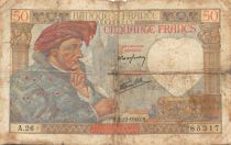 France 50 Francs Jacques Coeur - 05-12-1940 Serial A.26 - VG to F