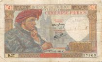 France 50 Francs Jacques Coeur - 05-12-1940 Serial D.27 - F to VF