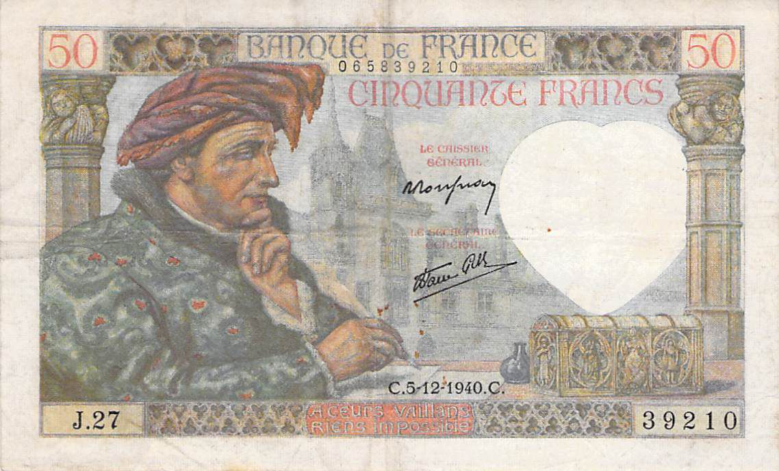 France 50 Francs Jacques Coeur - 05-12-1940 Serial J.27 - F+
