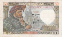 France 50 Francs Jacques Coeur - 05-12-1940 Serial J.27 - F+
