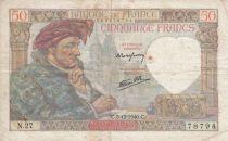 France 50 Francs Jacques Coeur - 05-12-1940 Serial N.27 - F