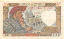 France 50 Francs Jacques Coeur - 05-12-1940 Serial V.27 - VF