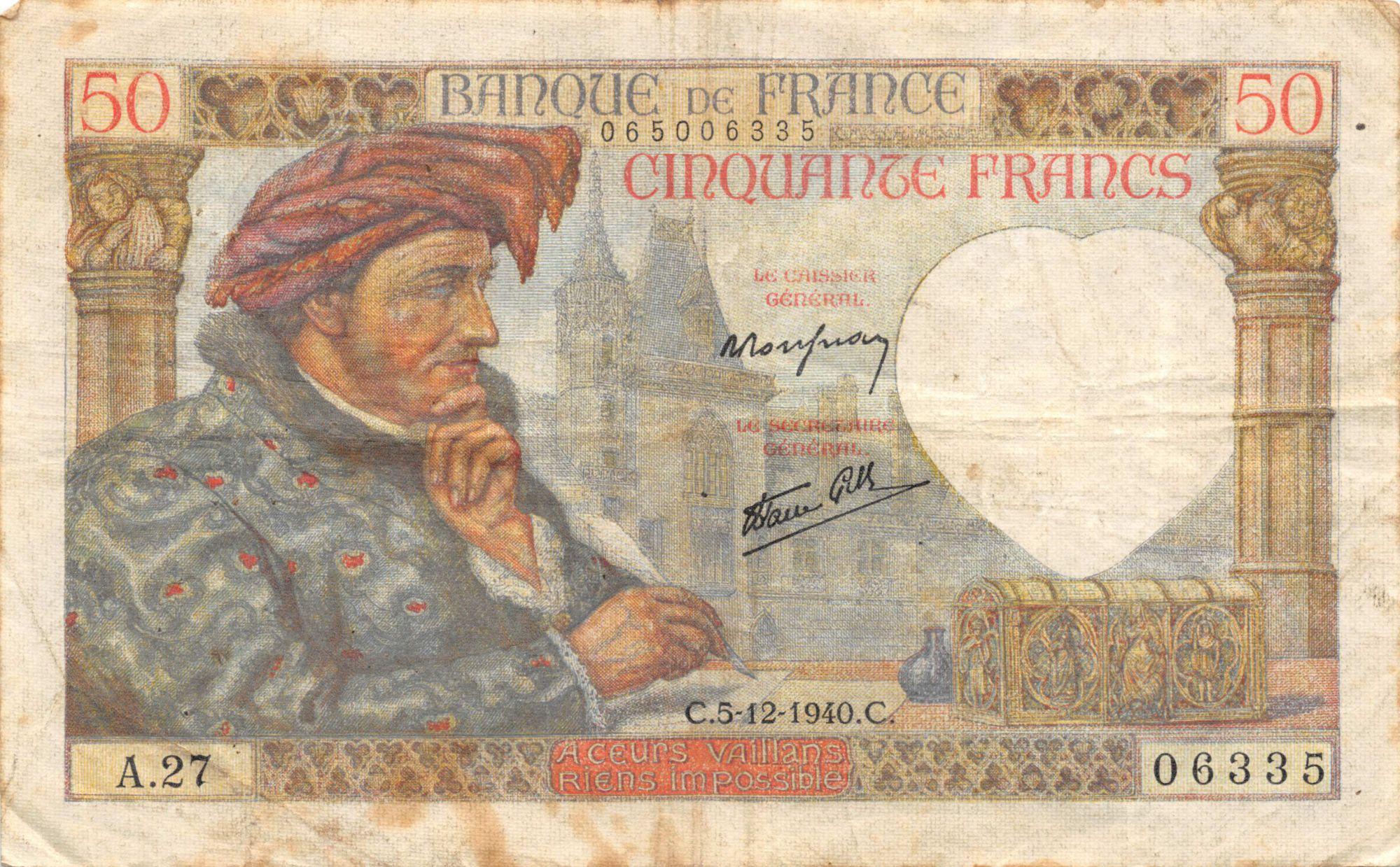 France 50 Francs Jacques Coeur - 05-12-1940 Série A.27 - PTTB