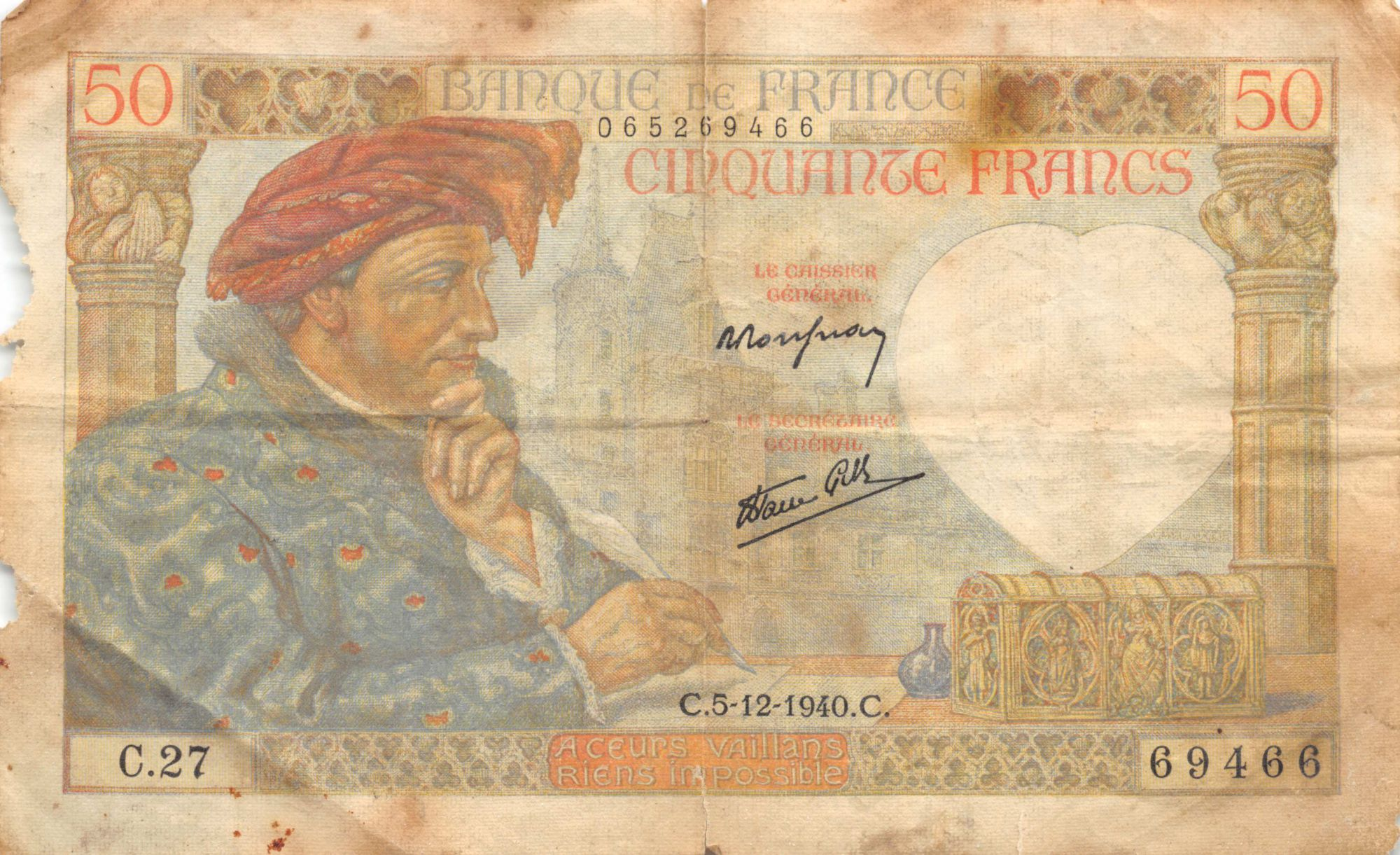 France 50 Francs Jacques Coeur - 05-12-1940 Série C.27 - B+