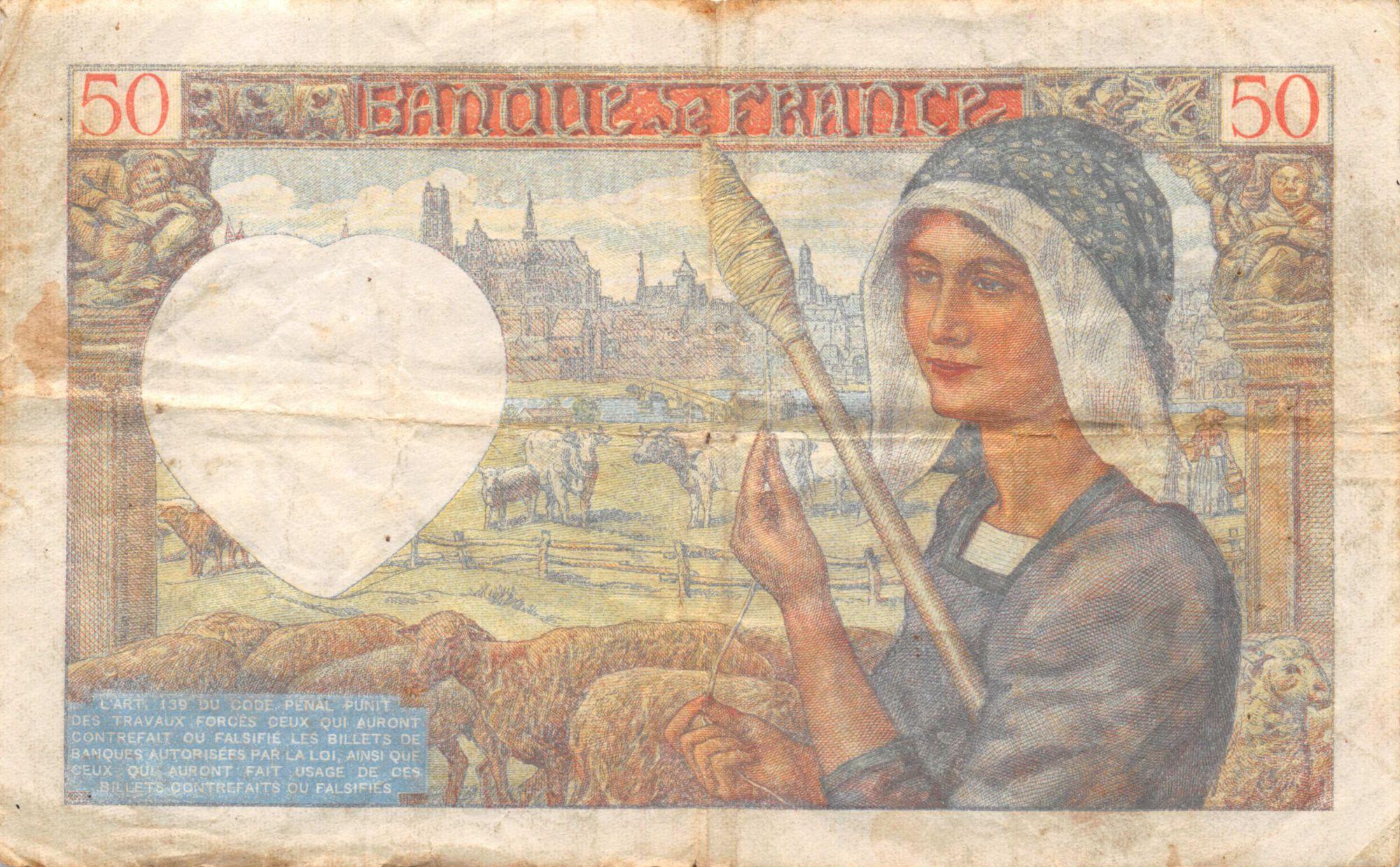 France 50 Francs Jacques Coeur - 05-12-1940 Série S.27 - PTTB
