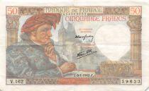 France 50 Francs Jacques Coeur - 08-01-1942 Serial V.162 - VF