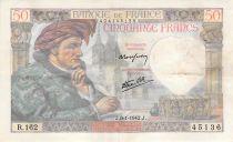 France 50 Francs Jacques Coeur - 08-01-1942 Série R.162 - PTTB