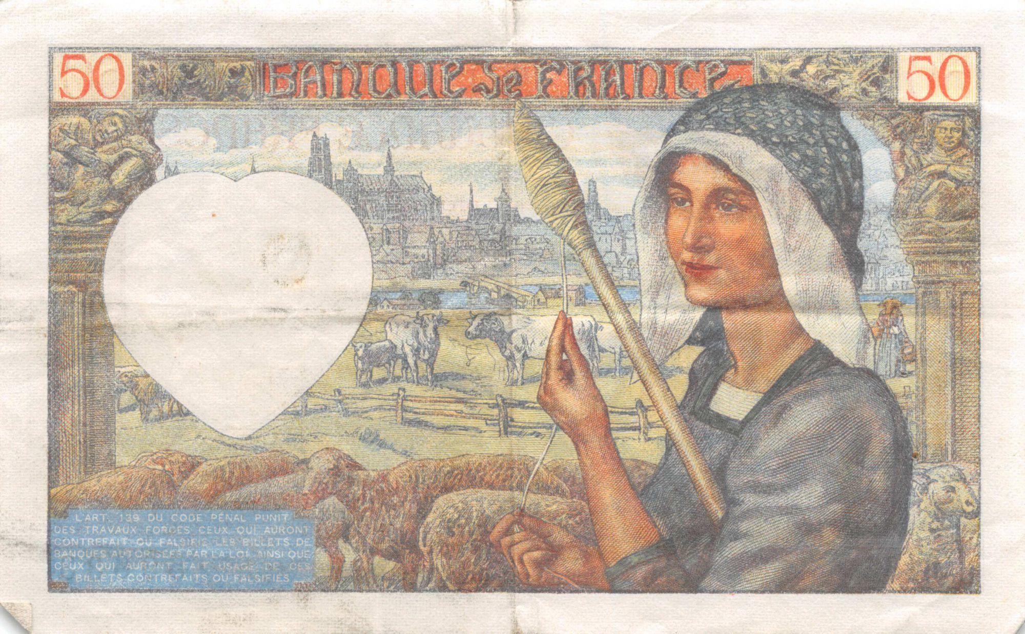 France 50 Francs Jacques Coeur - 08-01-1942 Série V.162 - TTB