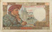 France 50 Francs Jacques Coeur - 08-01-1942 Série W.160 - PTTB