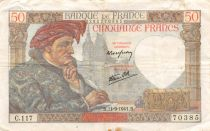 France 50 Francs Jacques Coeur - 11-09-1941 Serial C.117 - VF