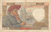 France 50 Francs Jacques Coeur - 13-03-1941 Serial H.51 - F to VF