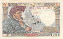 France 50 Francs Jacques Coeur - 13-03-1941 Serial K.45 - F+