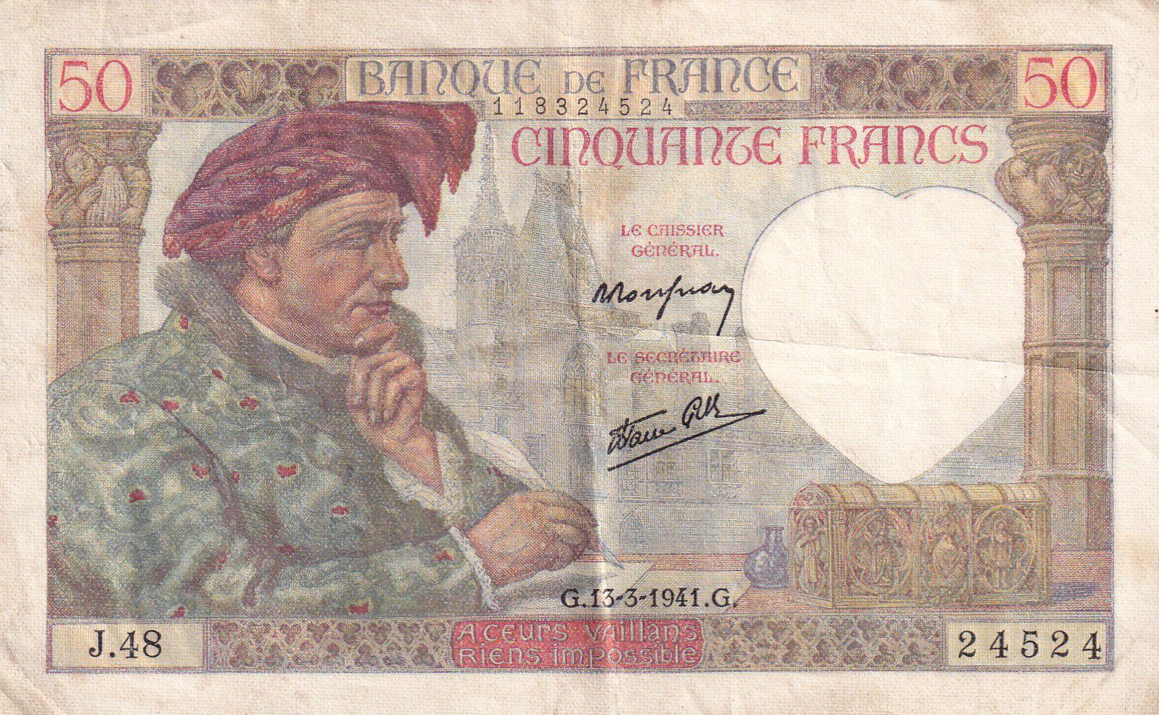 France 50 Francs Jacques Coeur - 13-03-1941 Série J.48 - TTB