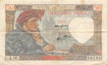 France 50 Francs Jacques Coeur - 13-06-1940 Serial A.12 - VF