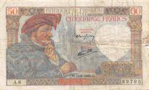France 50 Francs Jacques Coeur - 13-06-1940 Serial A.8 - F