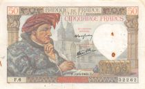 France 50 Francs Jacques Coeur - 13-06-1940 Serial F.6 - VF