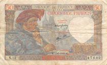 France 50 Francs Jacques Coeur - 13-06-1940 Serial N.12 - VF